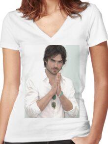 Ian Somerhalder  Women's Fitted V-Neck T-Shirt