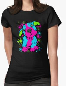 Colourful Pit Bull Puppy  Womens Fitted T-Shirt