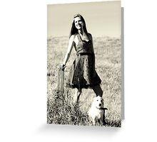 A girl and her dog. Greeting Card