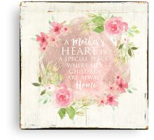 Typography A Mothers Heart Canvas Print