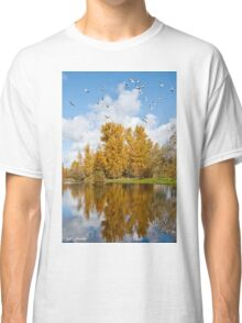 Fall Colors, Clouds and Western Gulls, Reflected in a Pond Classic T-Shirt