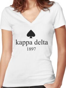 kappa delta kate spade design Women's Fitted V-Neck T-Shirt