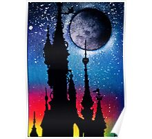 Castle Under Moonlight Poster