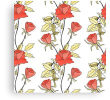 Retro floral red coral roses pattern, digital print retro Canvas Print