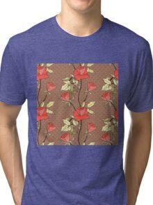 Retro floral red coral roses pattern, digital print retro Tri-blend T-Shirt