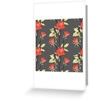 Retro floral red coral roses pattern, digital print retro Greeting Card