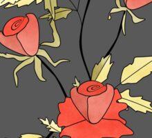 Retro floral red coral roses pattern, digital print retro Sticker