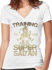 Training to go super saiyan Women's Fitted V-Neck T-Shirt