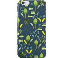 Forest Song - Blue Green Flower Drawing Pattern iPhone Case/Skin