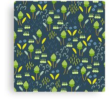Forest Song - Blue Green Flower Drawing Pattern Canvas Print