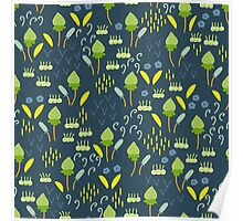 Forest Song - Blue Green Flower Drawing Pattern Poster