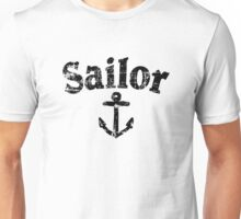Sailor Anchor Vintage Sailing Design (Black) Unisex T-Shirt
