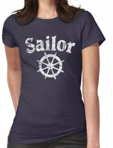 Sailor Wheel Vintage Sailing Design (White) Womens Fitted T-Shirt