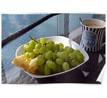 Cup of cappuccino and yellow grapes. Poster