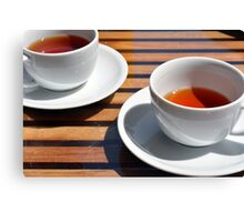 Two cups of tea on the table. Canvas Print