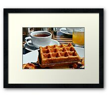 Breakfast with waffle, tea and orange juice.  Framed Print