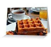 Breakfast with waffle, tea and orange juice.  Greeting Card