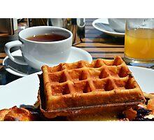 Breakfast with waffle, tea and orange juice.  Photographic Print