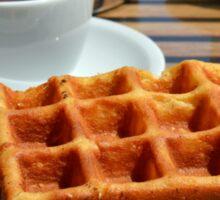 Breakfast with waffle, tea and orange juice.  Sticker