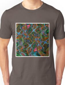Colorful psychedelic background made of interweaving curved shapes. Illustration Unisex T-Shirt