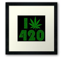 I Weed Leaf 420 with Marijuana Pattern Framed Print