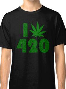 I Weed Leaf 420 with Marijuana Pattern Classic T-Shirt