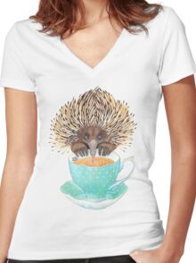 Animal Echidna tea Women's Fitted V-Neck T-Shirt