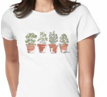 Herbs in pots Womens Fitted T-Shirt