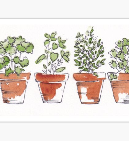 Herbs in pots Sticker