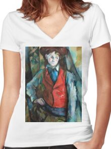1890 - Paul Cezanne - Boy in a Red Waistcoat Women's Fitted V-Neck T-Shirt