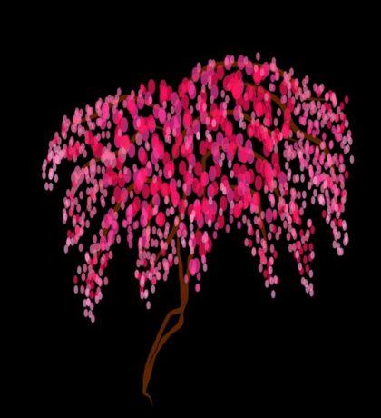 Cherry tree on black Sticker