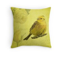 Summer Vintage Style Yellow Bird Throw Pillow
