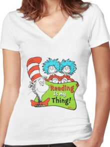 Reading is My Thing Seuss Women's Fitted V-Neck T-Shirt