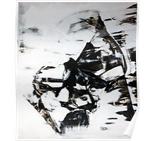 Female Eyes, Original mixed media painting, Huge monochrome Abstract Face of Woman Poster