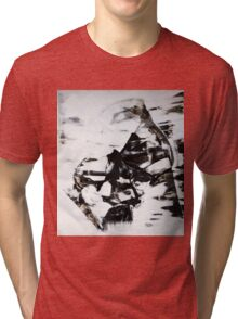 Female Eyes, Original mixed media painting, Huge monochrome Abstract Face of Woman Tri-blend T-Shirt