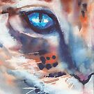 I can see you, Watercolor Painting, Cat by aquaarte