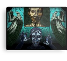Weeping angels stained glass Metal Print