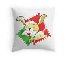 Cute puppy brings love letter on postage stamp Throw Pillow