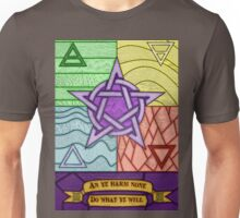 Stained glass Pentagram and Elements Unisex T-Shirt