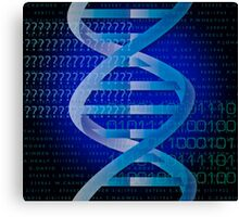 Cool Blue DNA Science Pattern Canvas Print