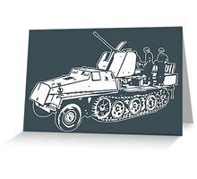German Halftrack with Flak Gun Greeting Card
