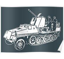 German Halftrack with Flak Gun Poster