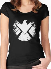 SHIELD Badge - White Women's Fitted Scoop T-Shirt