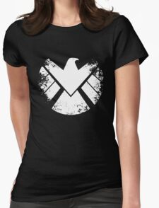 SHIELD Badge - White Womens Fitted T-Shirt