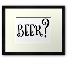 Party Beer Drink Retro Queston T-Shirts Framed Print