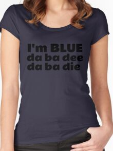 Blue Techno Party Music Dance Women's Fitted Scoop T-Shirt