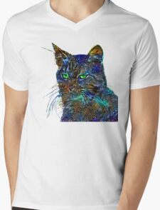 Artificial neural style Starry night wild cat Mens V-Neck T-Shirt