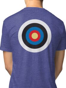 Bulls Eye, Right on Target, Roundel, Archery, on Dark Blue Tri-blend T-Shirt