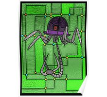 Robotic Bowler Hat - stained glass villains Poster