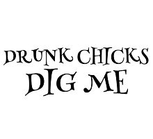 Party Drunk Chicks Funny Text T-Shirts Photographic Print